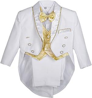 394d8d7e95df0 Lito Angels bébé garçon Jacquard Gilet 5 pièces Formelle Tuxedo Suit avec  Queue baptême Tenue de