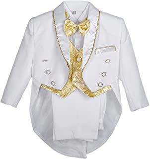 Dressy Daisy Baby Boys' Formal Tuxedo Suits Baptism Christening Outfit Suit 5 Pcs Set