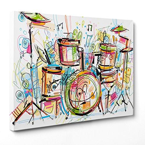 Cuadro sobre lienzo Canvas–ConKrea–Listo para colgar–Batería Percusión Música–ILLUSTRAZIONE–Dibujo Abstracto Digital