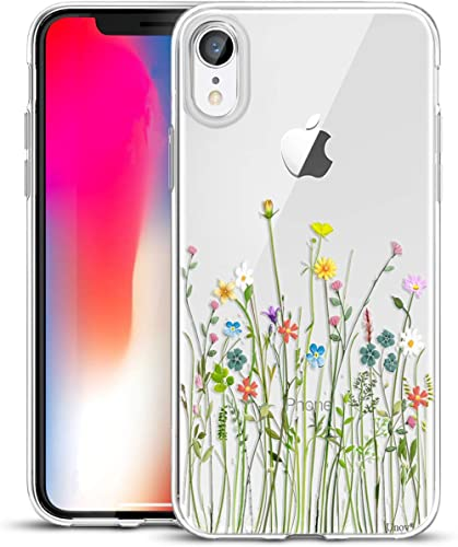 Unov Case Compatible with iPhone XR Case Clear with Design Slim Protective Soft TPU Bumper Embossed Pattern 6.1 Inch ...