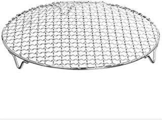 ZHANGHONGWEI 304 Stainless Steel Round Grill Net with Footboard BBQ Meshes Cooling Rack Steam Baking Rack Camping Outdoor ...