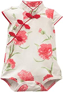 Festwolf Baby Girls Rose Flower Print Sleeveless Cheongsa Chinese Style Romper