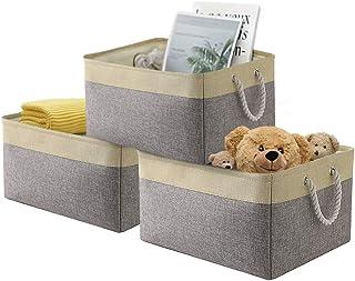 Lot de 3 boîtes de rangement pliables en toile épaisse avec poignées en corde pour vêtements, accessoires, etc.