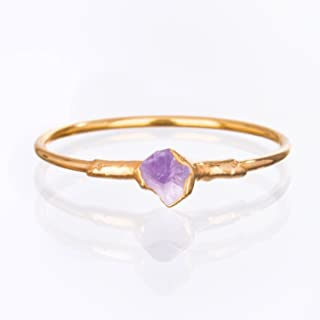 Raw Amethyst Ring, Yellow Gold, Size 6 Mini Stacking Ring, February Birthstone