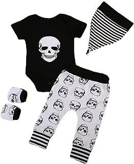 Baby Boys Girls Fashion Clothes Set Infant Halloween Bone Print Romper+Pants+Hat+Gloves Set Clothes 4Pcs