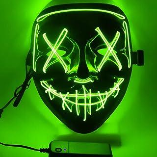 Ptsaying Maschera di Halloween, Maschera di spurgo a LED, Maschera di Halloween Spaventosa Maschera di Halloween per Adult...