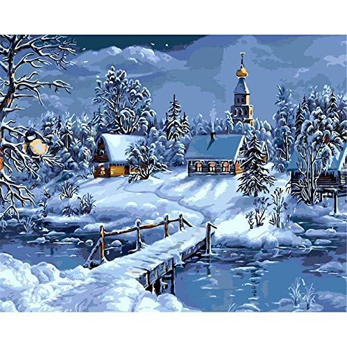 DIY Pintura al óleo de DIY por kits de los números Cabaña en la nieve Pintura para Adultos y Niños Pintura al Óleo De Lona Preimpresos para la Decoración De La Casa oficina Frameless,50x65cm