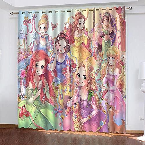 Bfrdollf Juego de 2 cortinas opacas para habitación infantil, diseño de princesas Disney con reducción de ruido (6,220 × 215 cm (ancho x alto)