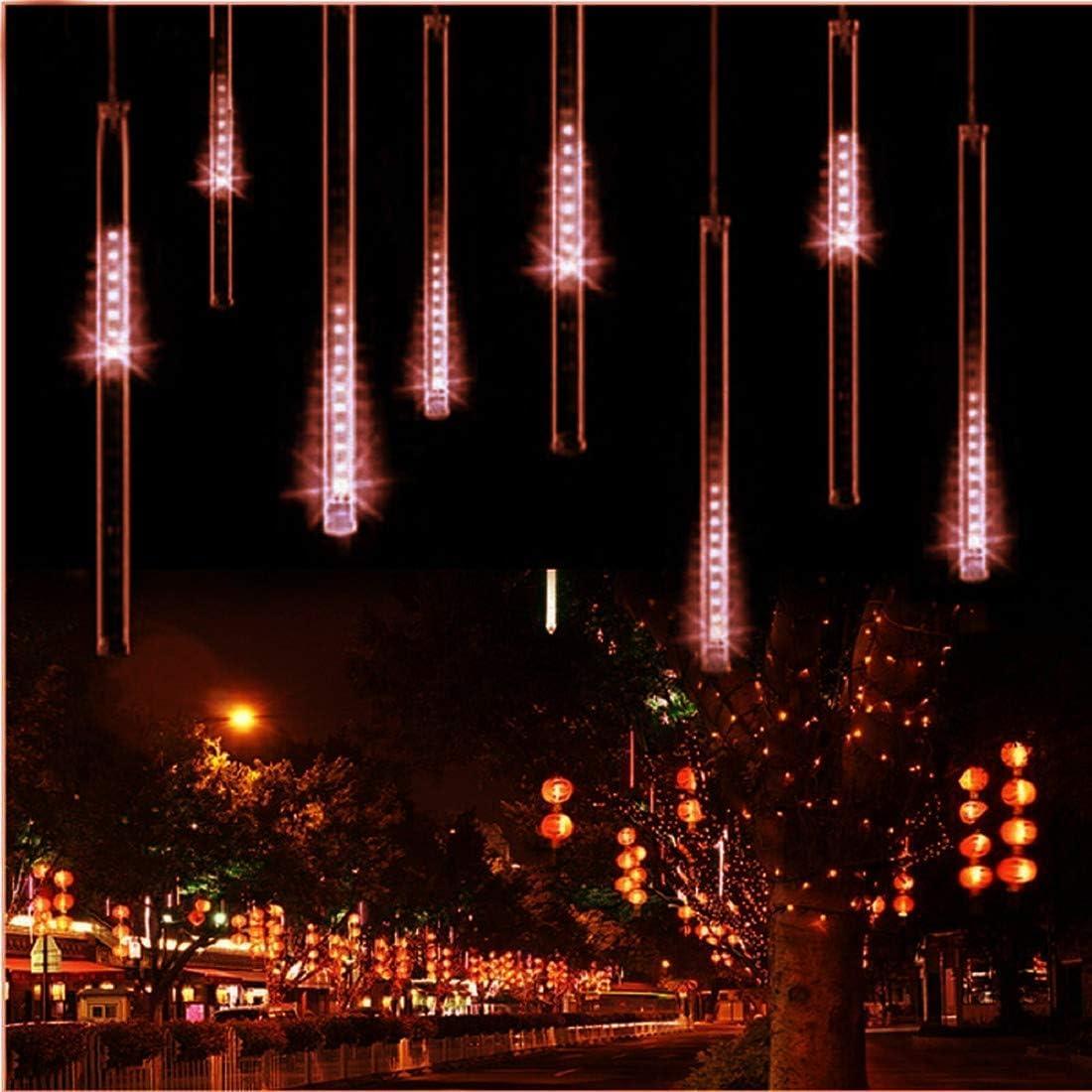 Regenlichter, EONYUANGUO Meteor Regenlichter 30cm 10 Tube 360LED Solar Regenlichter mit für Weihnachtsfeiern Hochzeit Weihnachtsbaum(Weiß) Rot