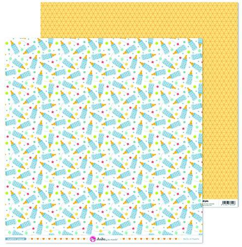 Anita y Su Mundo Colección Nuestro Peque Papeles de Scrapbooking, Paper, Biberón, 30.5 x 30.5 cm