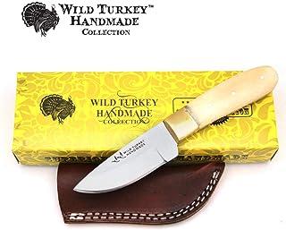 Sponsored Ad - Wild Turkey Handmade Collection Full Tang Real Bone Handle Fixed Blade Skinner Knife w/Leather Sheath