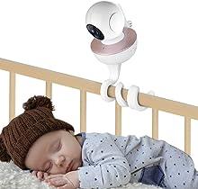 inRobert - Supporto universale per monitor da parete per bambini, supporto per telecamera flessibile, senza fori per la cameretta, compatibile con la maggior parte dei monitor (bianco)