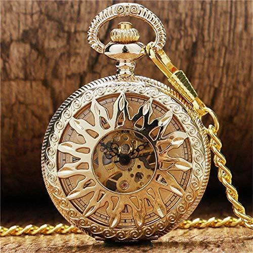 J-Love Pocket Watch New Golden Hollow Flower Sun Case Design With Roman Number Dial Skeleton Mechanical Pendant Pocket Watch For Men Women