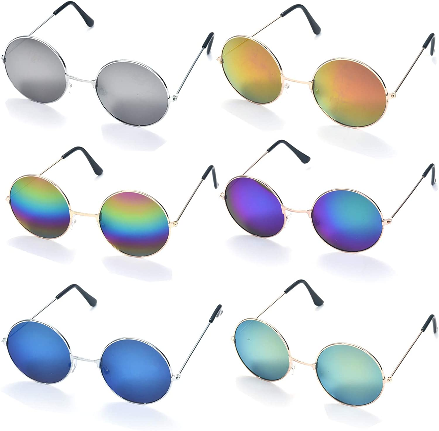 6 Pack Round Retro Vintage Circle Style Mirrored Sunglasses colord Small Metal Frame