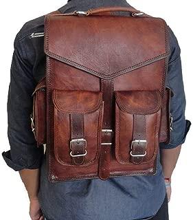 """Brown Vintage Leather Backpack Laptop Messenger Bag Rucksack Sling for Men Women (11"""" x 15"""")"""