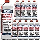 BINFORD Backofen- & Grillreiniger Gel 10x 500 ml + Pinsel Set - Backofenreiniger stark für die Ofen-Reinigung | Eingebranntes Reiniger Grill Reinigung Backofen Backblech Gasgrill