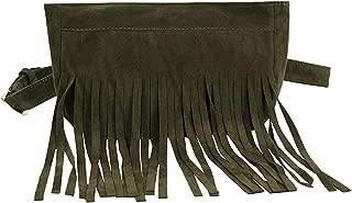 Tassel Style Waist Bag Women Pure Color Square Flock Chest Waist Belt Fanny Pack Waist Bag,Green