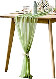 BOXAN Elegant 30x120 Inch Sage Green Sheer Table Runner 10Ft Rustic Wrinkle Resistant Chiffon Overlay for Spring Summer Romantic Wedding Party,Chic Bridal Shower Baby Shower Christmas Table Decoration