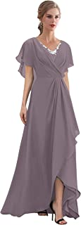 Vania Dress Womens Floor Length Chiffon Beads Bat Sleeves Mother of The Bride Dress Formal Gown V432DS