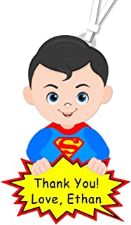 Personalized Superhero Birthday Party or Baby Shower Favor Tags or Stickers - Optional Heros Superman, Batman, Captain America, Wonder Woman, Super Girl - Decorations Invitations, Banner - BCPCustom