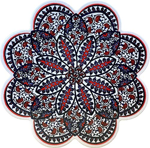 EuroHand Kasimpasa trivet Turkish Hand made Art Ceramic Pot holder cast iron trivet Decorative Organic Paint hot pans  Scratch Proof Machine Washable Backing Heat Resistant Housewarming Gift