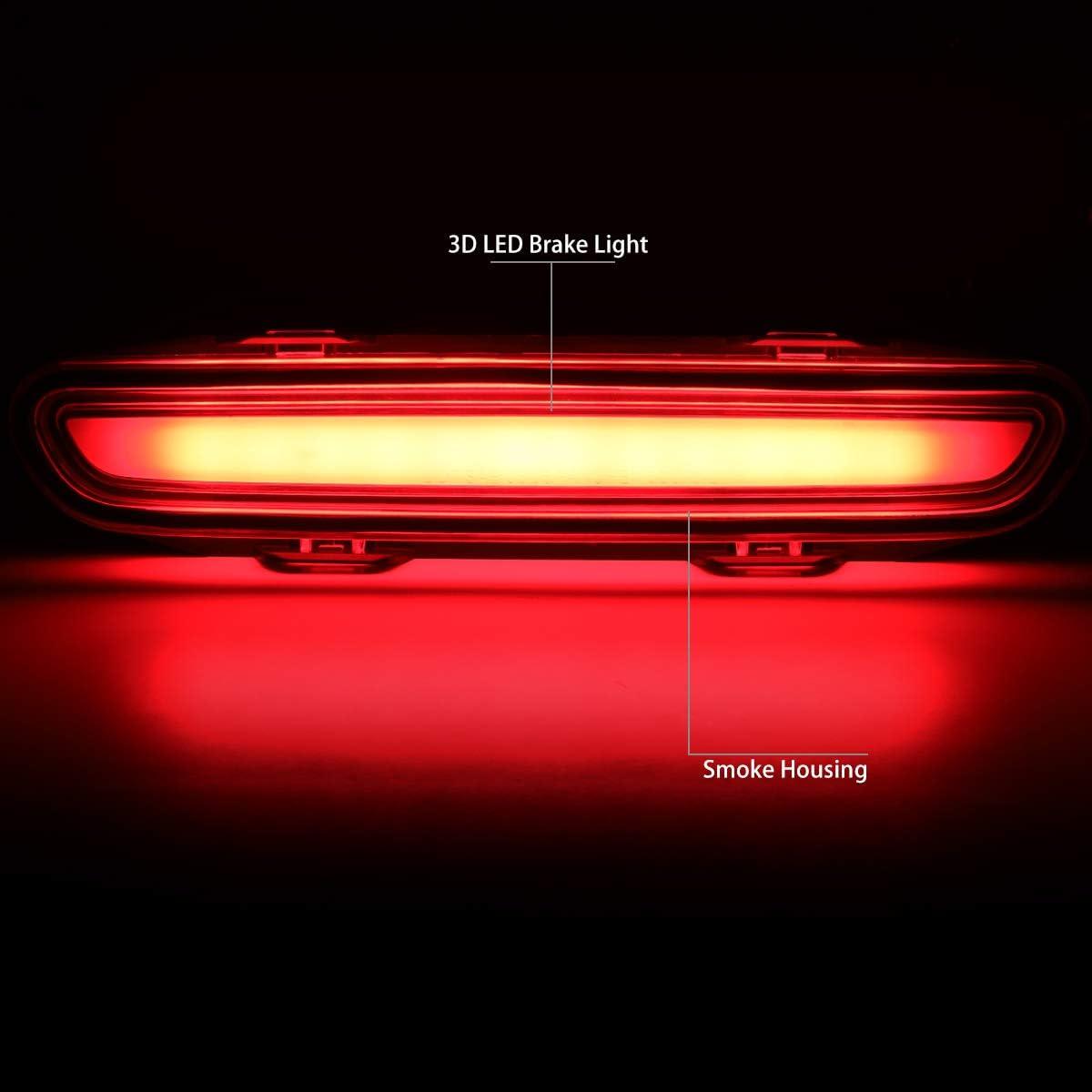 DNA Motoring 3BL-CHA06-3D-LED-CH 3D LED Bar 3rd Tail Brake Light Rear Center Stop Lamp
