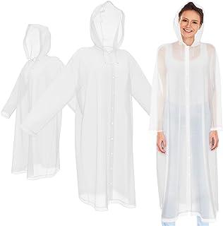 Portable Rain Coats for Men & Women (3 Pack) Clear EVA Jackets w/ Full Length Sleeves & Hood - Adult, Heavy Duty, Transpar...