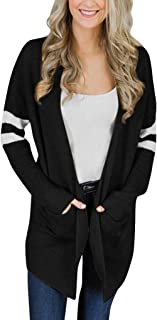 Womens on sale Cardigan Striped Long Sleeve Knitted Sweater Pockets Top Coat
