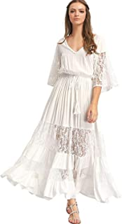 Women's Bohemian Drawstring Waist Lace Splicing White Long Maxi Dress
