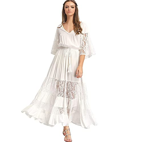 4491828717d8 Milumia Women's Bohemian Drawstring Waist Lace Splicing White Long Maxi  Dress