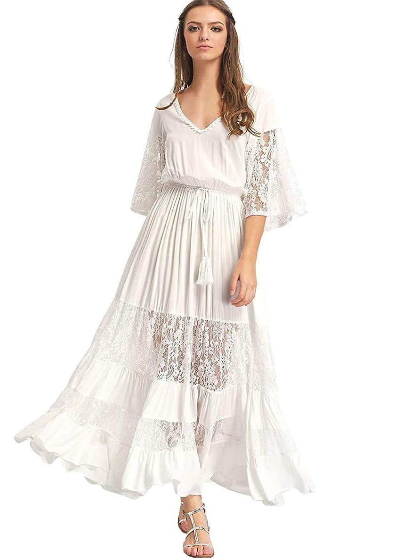 Milumia Women's Bohemian Drawstring Waist Lace Splicing White Long Maxi Dress axyz7096885253