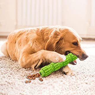 Dog Bone Chew Toys for Aggressive Chewers, Durable Rubber Indestructible Toy Toothbrush Stick Pet Teeth Cleaning for Small Medium Dogs