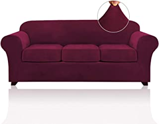 4 Pieces Sofa Covers Stretch Velvet Couch Covers for 3...
