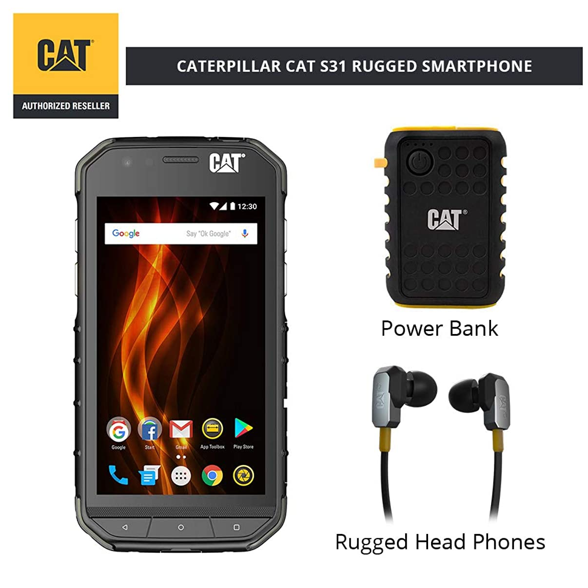 CAT S31 Unlocked Rugged Waterproof Smartphone with ACTIVE URBAN Rugged Earphones and Power Bank (comes with 2 years Warranty + Screen Protection)