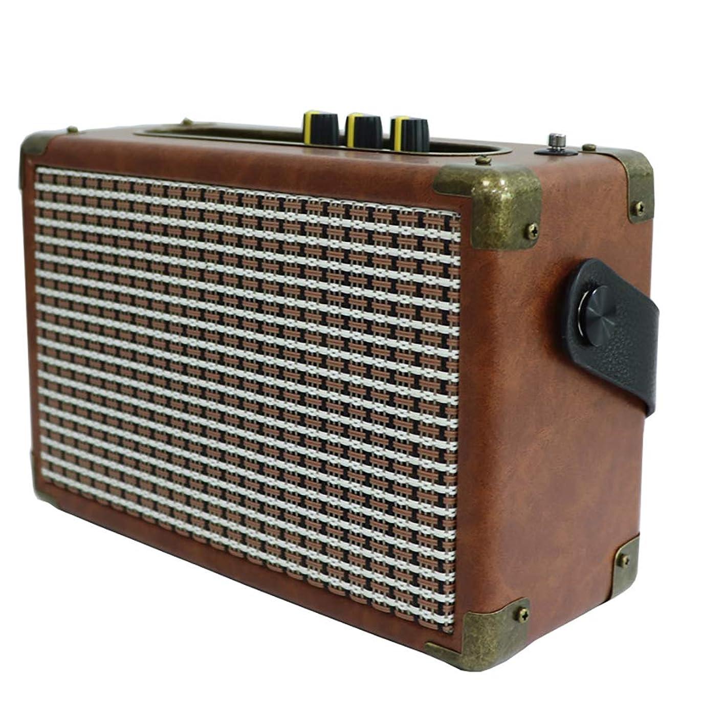 ビーズ雑種キロメートルワイヤレスBluetoothスピーカー、ポータブルレトロレザー屋外ラジオバルクスピーカー、ポータブル木製多機能スピーカー、USBプレーヤー