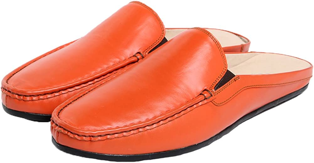 Santimon Slippers Mules Clog Men Breathable Leather Slip on Shoes Casual Loafers