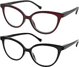 TBOC Gafas de Lectura Presbicia Vista Cansada - [Pack 2 Unidades] Graduadas +3.00 Dioptrías Montura de Pasta [Burdeos + Negra] de Diseño Moda Mujer Lentes de Aumento Leer Ver de Cerca Bisagra Muelle