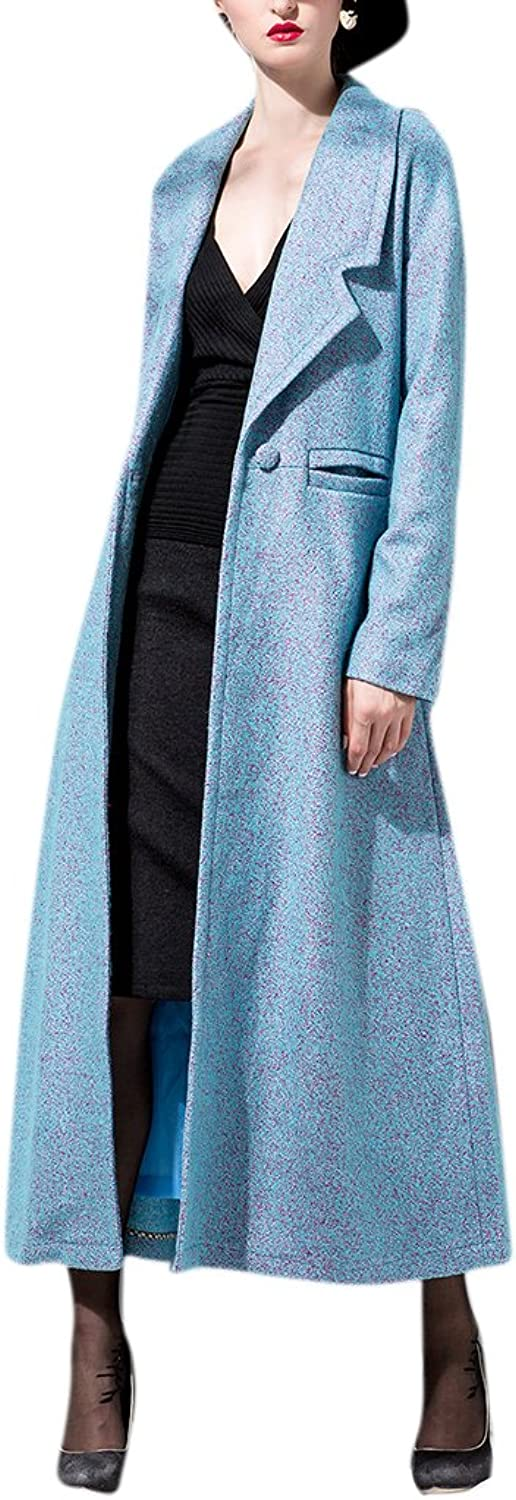 Youtobin Women's Fall Winter Notched Lapels Wool One Button Long Coat Overcoat