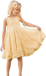 Ochine ワンピース 女の子 フォーマルドレス 子供洋服 黄色い ノースリーブ ガールズ ドレス バックレスドレス レース お出かけ 子供の日 入園式 文化祭 七三五