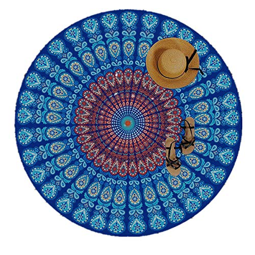 Moya Life Feather Peacock Round Mandala Tapiz, Hippie Hippy Style, India Boho Gypsy Cotton Tablecloth Beach Towel, Redondo de Meditation Yoga Mat, para picnic Mantel o Toalla de Playa redonda