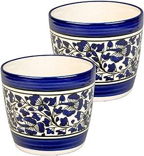 Craftghar Planter Set of Pot of 2 in Handmade Blue Ceramic Pottery