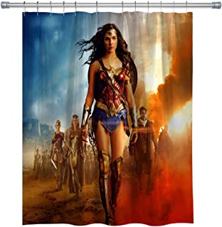 Hero Movie Post Shower Curtains,Waterproof Polyester Wonder Woman Captain Fantastic Shower Curtain Set for Bathroom with Hooks, 71X 71 in