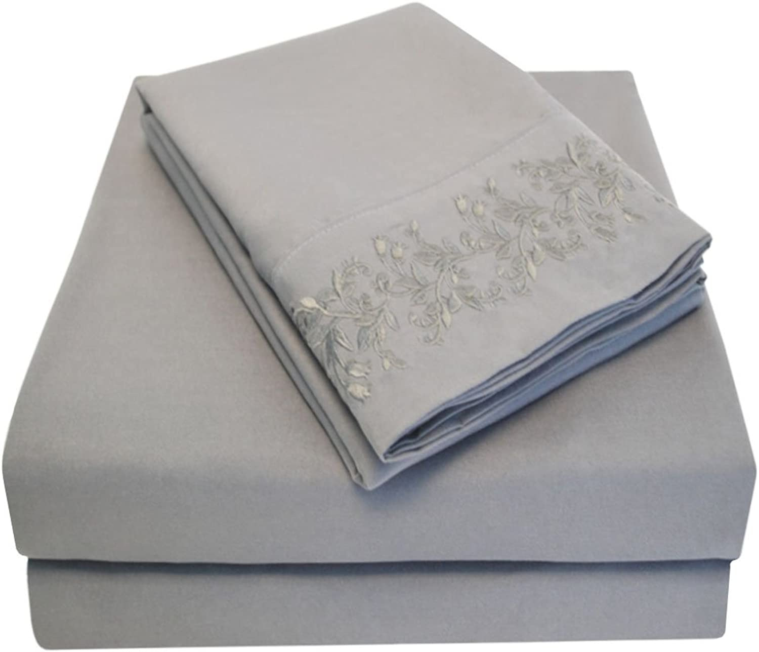 Super Soft Light Weight, 100% Brushed Microfiber, Wrinkle Resistant, Twin XL 3-Piece Sheet Set, Charcoal with Floral Lace Embroidery Pillowcases in Gift Box
