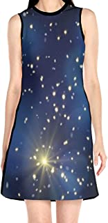 Women's Sleeveless Dress Night Sky Stars Fashion Casual Party Slim A-Line Dress Midi Tank Dresses