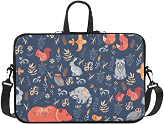 Cartoon Forest Animal Raccoon Fox Bear Pattern Briefcase Laptop Bag Messenger Shoulder Work Bag Crossbody Handbag for Business Travelling
