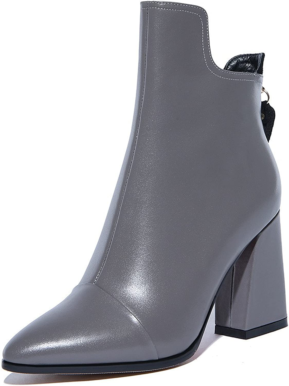 Nine Seven Genuine Leather Women's Pointed Toe Block Heel Comfort Dressy Handmade Ankle Booties New
