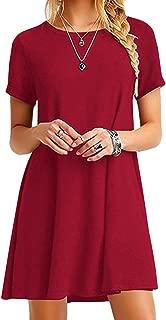 Womens Casual Swing Round Neck Short Sleeve Loose Summer Shirt Tunic Dress