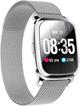 TPW Smart Watch Bluetooth Sports Watch CV06 (2019) IP67 Waterproof Fitness Tracker Business Smartwatch with Heart Rate Monitor, Multi Sport Mode for Android 4.4, iOS 7.0, Magnetic Strap, Silver…
