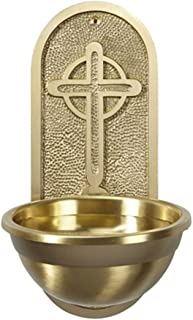CB Church Supply Arched Holy Water Celtic Cross Engraved Font, 9 3/4 inch