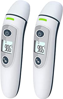 2 Pack Ear Forehead Thermometer, Medical Digital Infrared Temporal Thermometer with Fever Alarm and Memory Function – Ideal for Babies, Infants, Children, Adults, Indoor, and Outdoor Use (Gray)